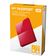 WD My Passport 2 TB Portable Hard Drive USB 3.0  WDBYFT0020BRD-WESN Red